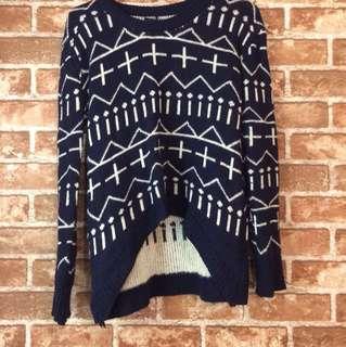 前短後長幾何造型毛衣