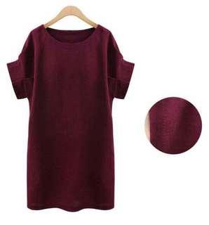 Pleated Sleeve Maroon Dress