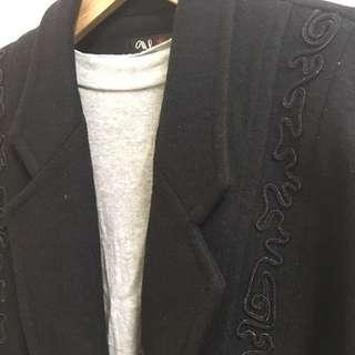 🚚 Vintage 毛料黑色/復古西裝外套大衣