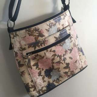 Leather floral and navy side messenger bag purse