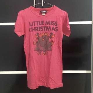 Little Miss Christmas T-Shirt in Deep Pink - Kaos Little Miss Christmas Pink Tua