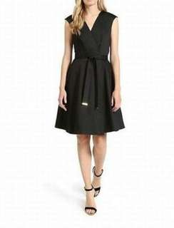 BNWT Ted Baker V Front Full Skirt Midi Dress Black