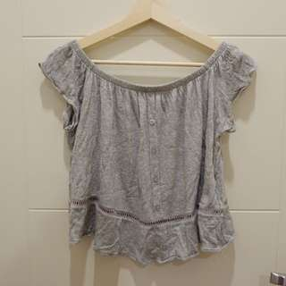 Grey sabrina top