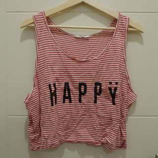 Happy red stripes crop tank