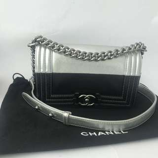 Authentic CHANEL Bi Colour Small BOY Flap Bag