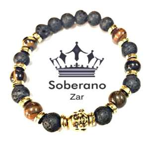 Gold Buddha head in Tiger's eye and Lava rock bracelet