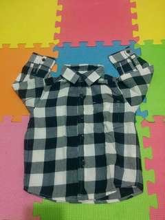 Long sleeve polo checkered