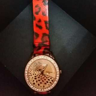 🆕Aidiman Red 🐆leopard facet diamond cut Swarovski watch