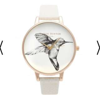 Olivia Burton Animal Motif Humming Bird Mink and Rose Gold Watch