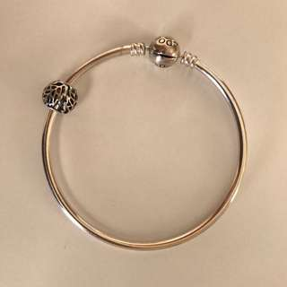 Pandora Silver Bangle with Charm - gift worn twice only