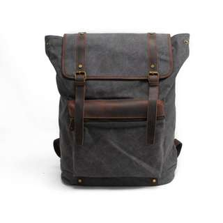 Waterproof  Canvas Genuine Leather Camera Backpack