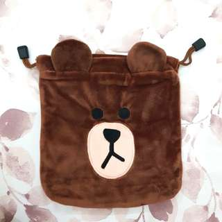 Brown LINE Pouch