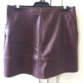 Vegan Leather Faux Skirt