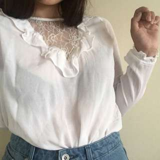 H&M Lace Long Sleeve Blouse