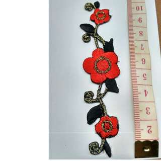 Iron on floral flower applique patch embroidered fabric decoration