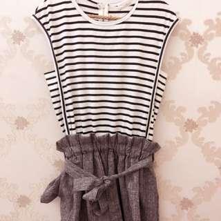 🚚 正韓 韓國 條紋 無袖 短褲裙 連身洋裝 韓國製