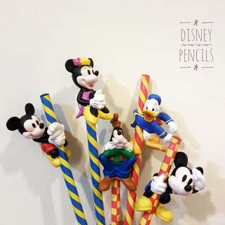 9× Vintage Disney Wood Lead Pencils with PVC Toppers