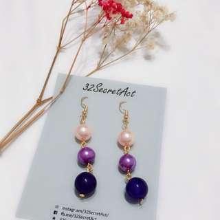 Purple Pink Pearl Korean Style Earrings Handmade