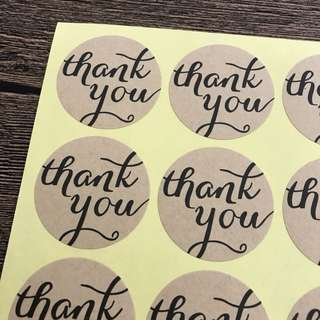 (Free Postage) 60 Thank You Kraft stickers - Thank you labels