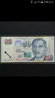 Low number 000010 Singapore $50 Portrait Series HTT Currency Banknote