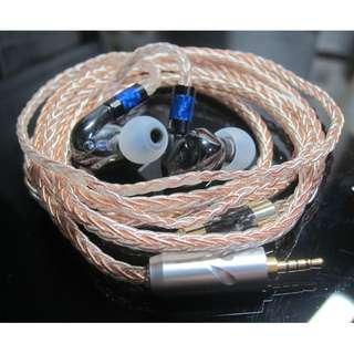 耳機升級線 純人手編製 訂做 8絞 [7N單晶銅|單晶銅鍍銀混單晶銅] RHA CL1 專用升級線