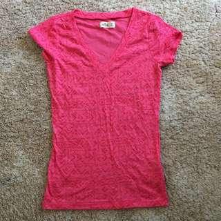 Hollister pink/red printed V neck top