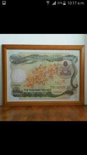 1992 Singapore Orchid $10,000 Currency Banknote Jigsaw Puzzle In Frame