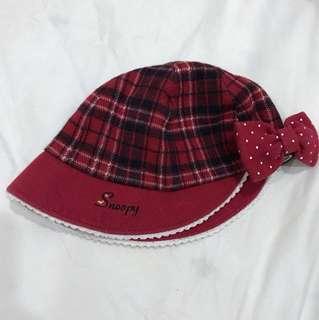 🚚 Snoopy紅格紋童帽48cm