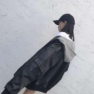 秋冬季新款韓版寬松連帽BF風學生長袖棒球外套加厚皮夾克女