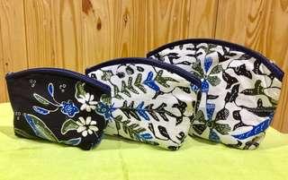 Pouch motif batik 3 in 1 (biru tua)