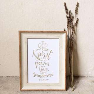 "Customized: 9"" Nordic-Oak Frame w/ a Personalized Handwritten Content (calligraphy, lettering, typography, bible verse, customised, wooden photo frame, decor, housewarming, gift)"