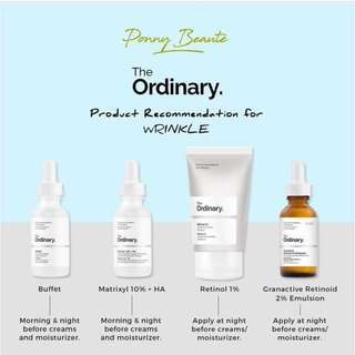 The Ordinary Products Recommendation for Wrinkle Concern