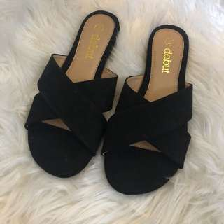 Black velvet cross sandals