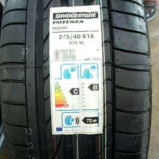 245/40/18 Re050 Bridgestone Tyre