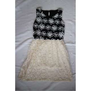 floral black & white lace dress