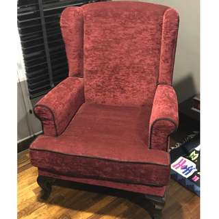 Handsome wing back armchair