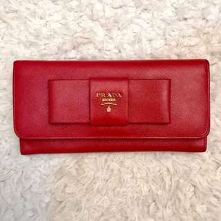 Authentic Prada Saffiano Fiocco Red Wallet