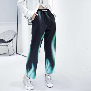 Green high-waisted flame pants