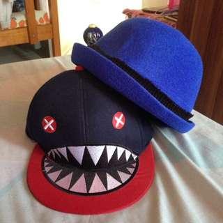 bowler hat + snapback