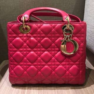 Lady Dior Medium Lambskin in Fuchsia Pink GHW with Strap