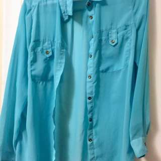 Sheer chiffon blue shirt