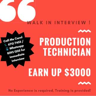 Production Technician (UP S$2100 + OT / No Exp Req)