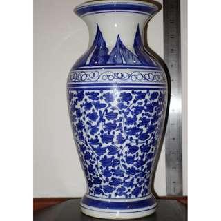 "Chinese Antique Blue & White Vase 13"""