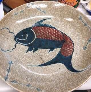 手繪大碟,可當茶盤。直徑28cm,高5 cm