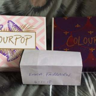Colourpop supershock shadow and lippie stix sets. Selling seperately.