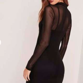 BNWT Missguided Black Mesh Overlay Dress size 4 petite