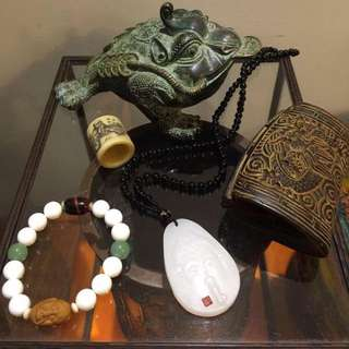 硨磲串,白玉牌,犀杯,青銅金蟾