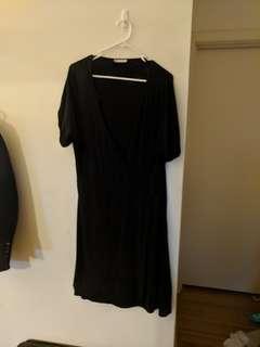Black 16 cross over (faux wrap) dress