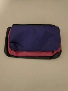 3 compartment pencil case | pink grey purple