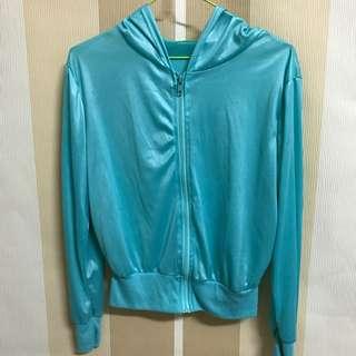 【現貨】藍綠色亮面輕薄外套